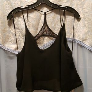 LUCCA COUTURE BLK CROP STRAPPY TANK SZ M